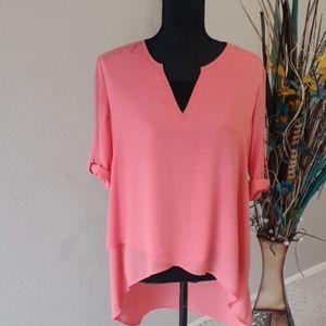 ALFANI Ladies Sheer Asymmetrical Layered Tunic Top